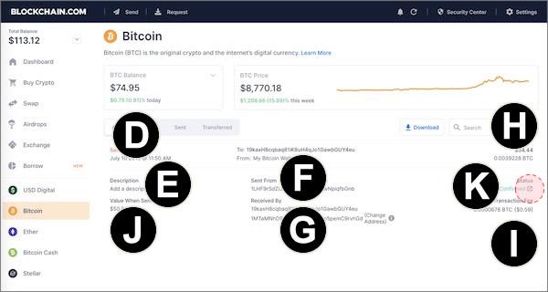 blockchain web wallet transaction info