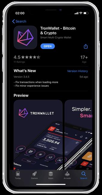 tronwallet app store