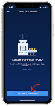 convert crypto dust
