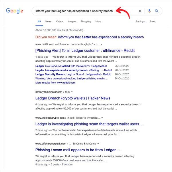 ledger phishing email